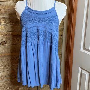 Sun & shadow blue crocheted lace front swing tank